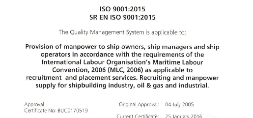 ISO 9001:2015 certificate for Nedcon Maritime Manpower Supply